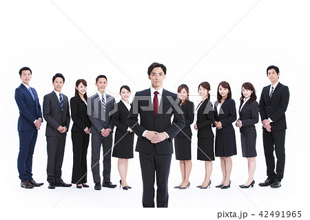 ビジネス 白バック 大人数 ビジネスマン 女性 男性 42491965