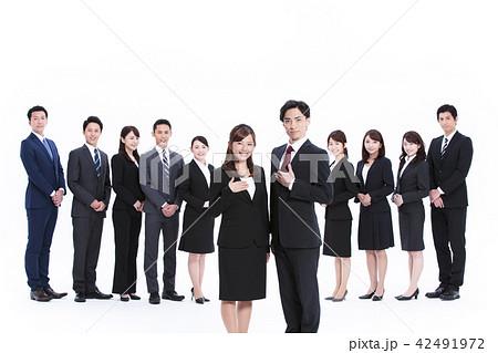 ビジネス 白バック 大人数 ビジネスマン 女性 男性 42491972