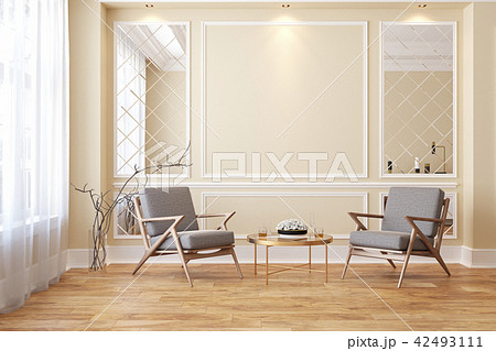 Classic beige modern interior empty room with lounge armchairs. 42493111