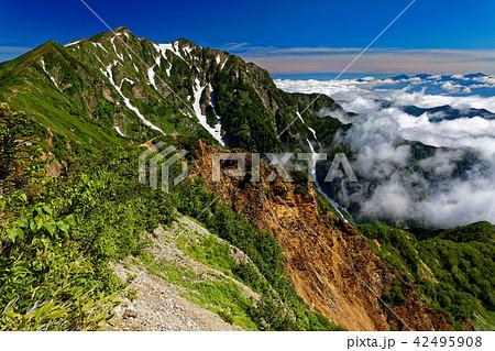 爺ヶ岳稜線から見る鹿島槍ヶ岳と赤岩尾根 42495908