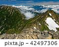 鹿島槍ヶ岳南峰から見る北峰と五竜岳・白馬岳への稜線 42497306