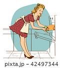 キッチン 台所 女性のイラスト 42497344
