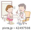 診察を受ける赤ちゃんと心配なお母さん 42497508