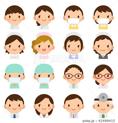 様々な世代の医療関係者 男女 白衣 顔 表情 かわいい フラットアイコン セット 42499415