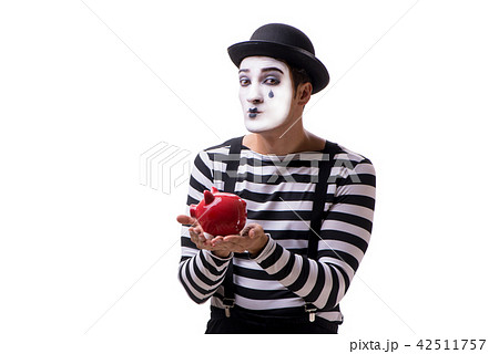 mime with piggybank isolated on white background の写真素材