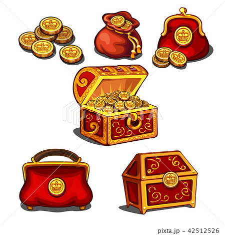 Set of wallets, bags and a chest full of gold coins isolated on white background. Vector cartoon 42512526