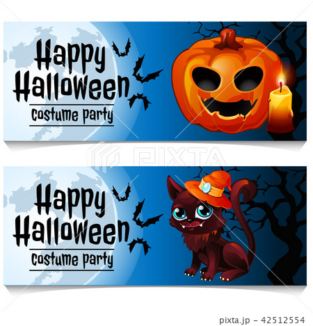 Two horizontal cards on the theme of the Halloween holiday. Vector illustration. 42512554