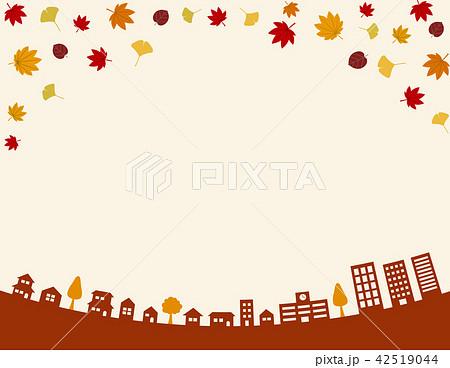 秋の街並み 背景イラストのイラスト素材