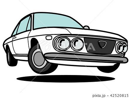 イタリアンヒストリッククーペ 白色 自動車イラスト ジャンプ 42520815