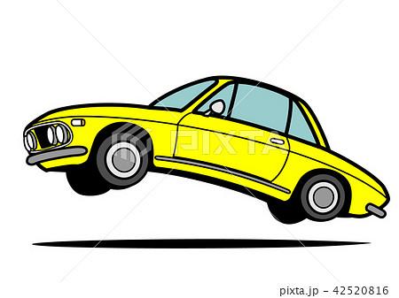 イタリアンヒストリッククーペ 黄色 自動車イラスト ジャンプ 42520816