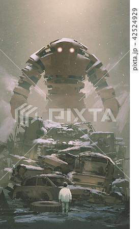 robot looking at the boy below 42524929