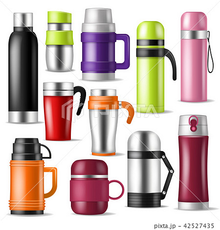 Thermos vector vacuum flask or bottle with hot drink coffee or tea illustration set of metal bottled 42527435