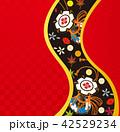和風イメージ.鼓と花の背景素材. 42529234
