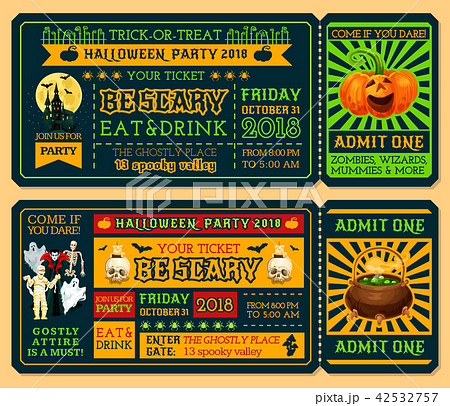 halloween ticket template for horror night partyのイラスト素材