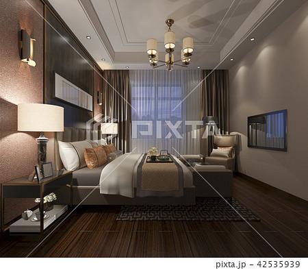 beautiful luxury bedroom suite in hotel with tv 42535939