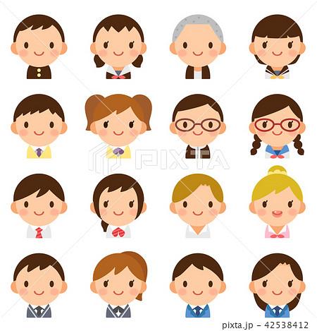 様々な学生 男女 顔 かわいい フラットアイコン セット 42538412