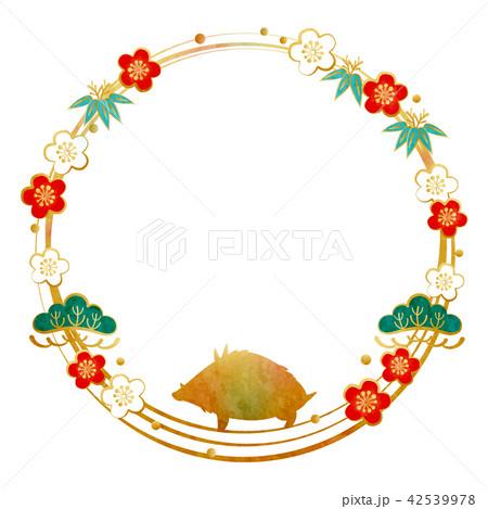 年賀素材-フレーム(松竹梅,猪シルエット)テクスチャ 42539978