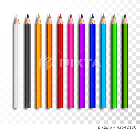design set of realistic colored pencils on transparent background