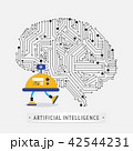 Robot with intelligence artificial concept. 42544231