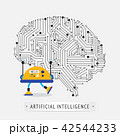 Robot with intelligence artificial concept. 42544233