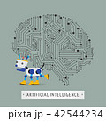 Robot with intelligence artificial concept. 42544234