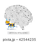Robot with intelligence artificial concept. 42544235
