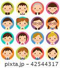 様々な学生 男女 顔 かわいい フラット丸アイコン セット 42544317