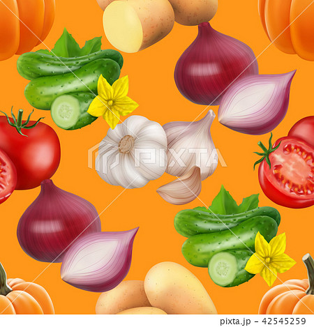 Seamless pattern with vegetables. 42545259