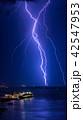 海上に落ちる稲妻と豪華客船 縦構図 42547953