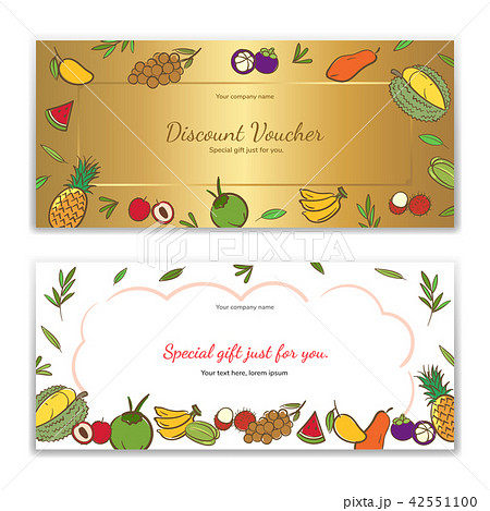 tropical fruits theme gift certificateのイラスト素材 42551100 pixta