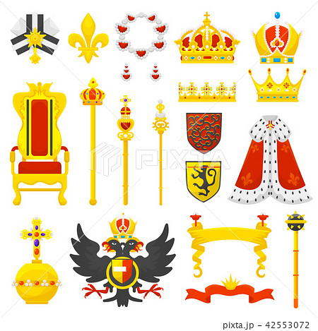 Royal crown vector royalty emblem and golden jewelry symbol of king queen and princess illustration 42553072