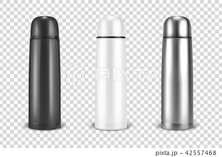 Vector realistic 3d black, white and silver empty glossy metal vacuum thermo tumbler flask icon set 42557468