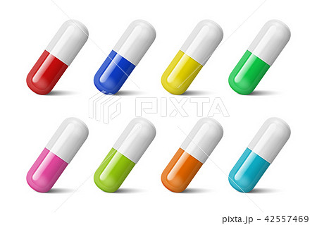 Vector realistic 3d different color medical pill icon set isolated on white background. Design 42557469