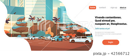 City car parking over skyscraper buildings modern cityscape background horizontal flat copy space 42566712