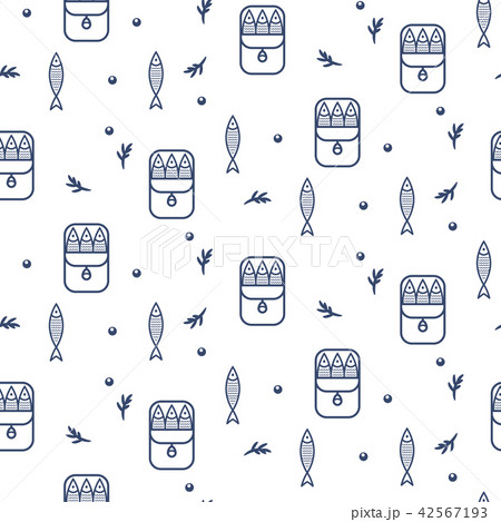 Canned sprats line icon seamless vector pattern. 42567193