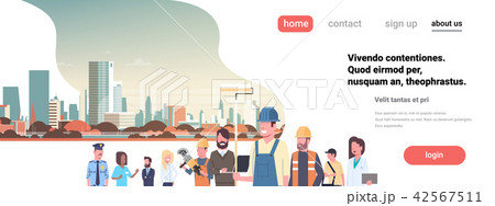 People different occupations stay together over cityscape background flat portrait horizontal banner 42567511