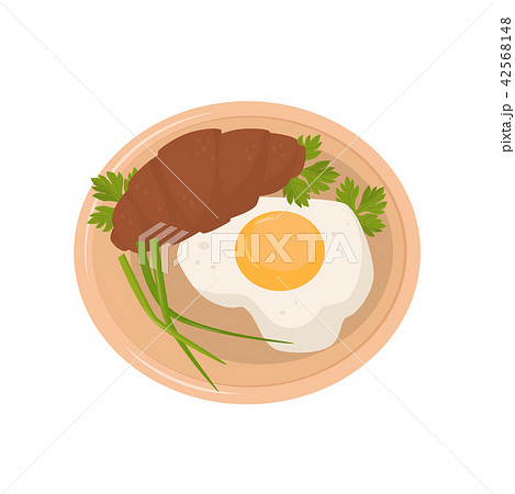 Fried egg, croissant, parsley and fresh green onions on a plate vector Illustration on a white 42568148