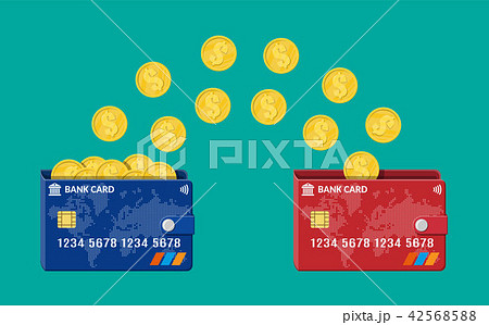 Bank plastic card to card money transfer. 42568588