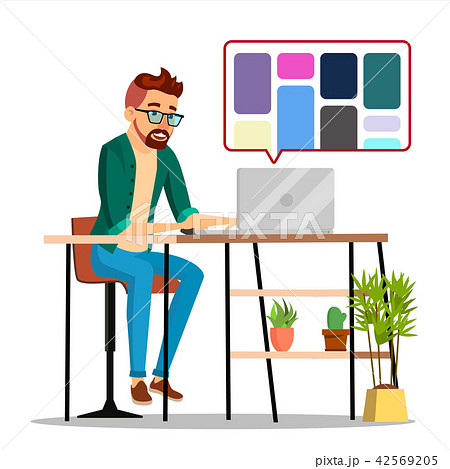 Graphic Designer Working Vector. Man Searching For References On Popular Creative Web Site 42569205