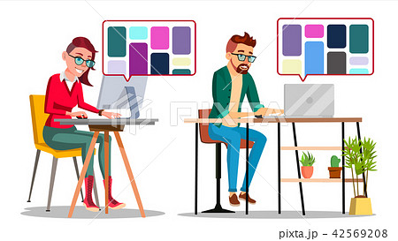 Graphic Designer At Work Vector. Man, Woman Searching For References On Popular Creative Web Site 42569208