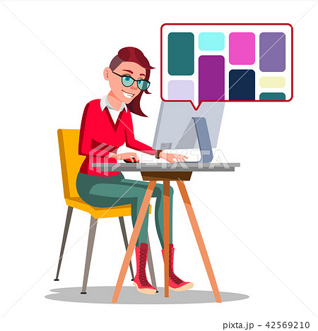 Graphic Designer Working Vector. Woman Searching For References On Popular Creative Web Site 42569210