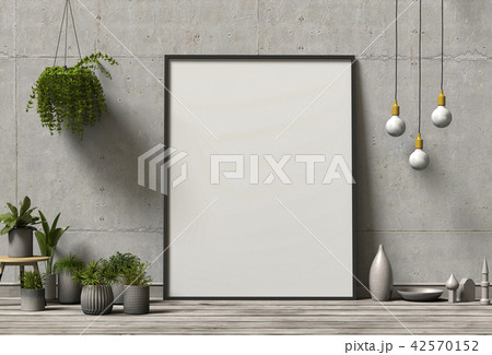 frame poster mock up with plants. 3d rendering. 42570152