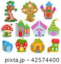 Fantasy house vector cartoon fairy treehouse and magic housing village illustration set of kids 42574400