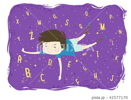 Kid Boy Float Letters Illustration 42577170