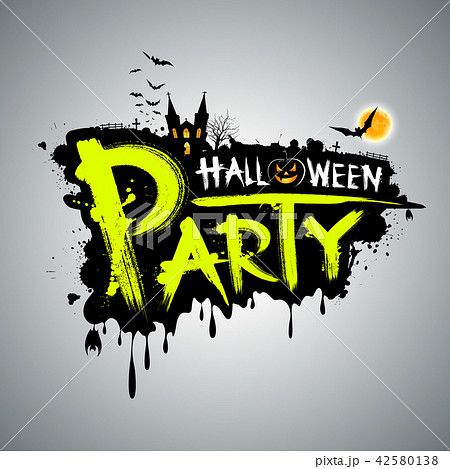 halloween party green message designのイラスト素材 42580138 pixta