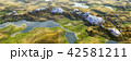 鮮豔細緻的湖泊和山脈高地景觀,全景鳥瞰圖(高分辨率 3D CG 渲染∕著色插圖) 42581211