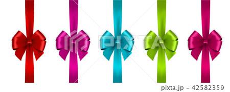 Shiny satin ribbon on white background. Vector bow and ribbon. 42582359