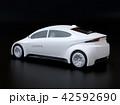 黒バックにカーシェアリング用白色電気自動車の後ろイメージ 42592690