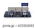 スマートフォンにライドシェア看板がある駐車場のミニチュア。ライドシェアビジネスのコンセプト 42592693