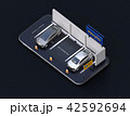 スマートフォンにライドシェア看板があるカーシェア専用駐車場のアイソメアングルイメージ 42592694